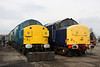 12 March. BR blue 37108 stands besides DRS 37683 at Crewe Heritage Centre.