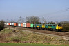 4 March. Bearing a new pantograph, 86621 partners 86639 at Chelmscote with the 4L75 0958 Crewe Basford Hall - Felixstowe.