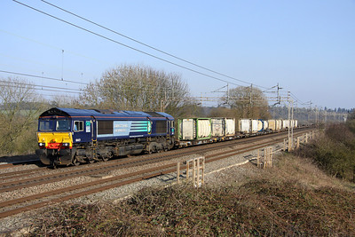 4 March. With freight back on the slow lines, 66421 takes the 4M71 1053 Tilbury - Daventry sugar liner northwards at Chelmscote.
