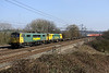 4 March. 86609 in Freightliner livery partners 86637 in the new PowerHaul livery at Chelmscote working the 4M54 1009 Tilbury - Crewe Basford Hall.