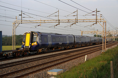 6 June. Brand new 4 car Scotrail unit 380115 is seen passing Soulbury in the consist of 7X80 1315 Dollands Moor - Polmadie TRSMD.