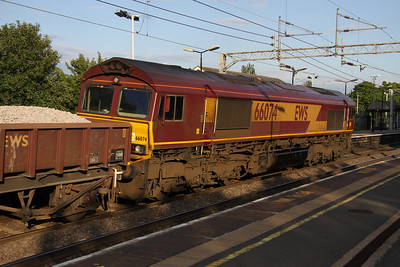 11 June. Evening sun catches 66074 curving through Wolverton with the 6R01 Bescot - Bletchley.