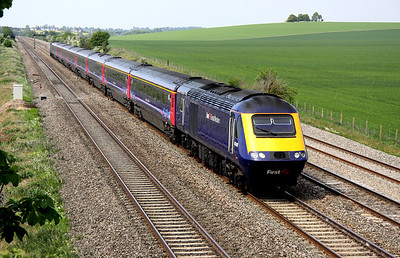 4 May. 43148 with the 1300 Bristol Temple Meads - Paddington past Cholsey Manor Farm.