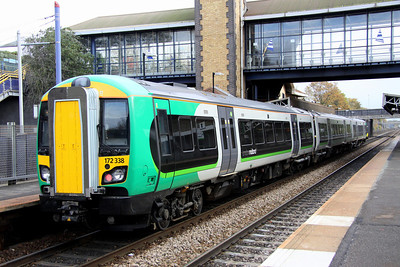 5 November. Another view of three car 172338 on the 1155 Stourbridge Junction - Stratford upon Avon at The Hawthorns.