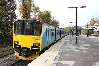 5 November. The only class 150 I saw working all day on my trip to Birmingham, 150018 stands at Dorridge waiting to work the 1328 Dorridge - Stourbridge Junction via Solihull.