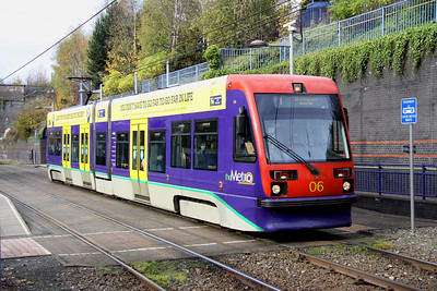 5 November. Midland Metro 06 ALAN GARNER at The Hawthorns heading for Birmingham Snow Hill.