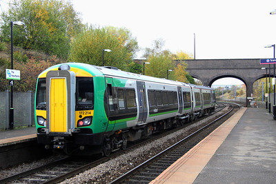 5 November. Two car 172214 pulls away from The Hawthorns with the 1209 Birmingham Moor Street - Great Malvern.