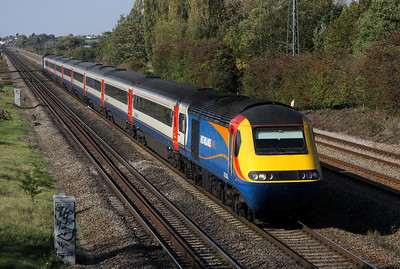 2 October. EMT 43046 leads the 1312 Nottingham - St. Pancras International past Bromham.
