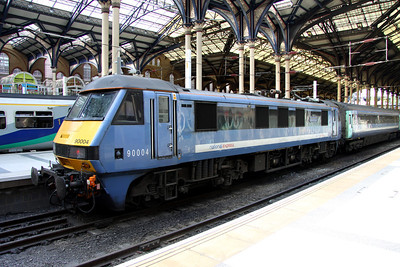3 September. On the blocks at Liverpool Street. 90004 Eastern Daily Press SERVING NORFOLK FOR 140 YEARS 1870-2010 awaits departure time with a service to Norwich.