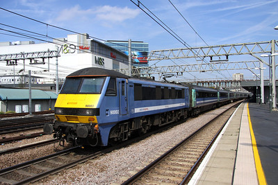 3 September. Unnamed 90002 passes through Stratford on the midday departure from Norwich for Liverpool Street.