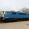 3 April. In electric blue, 86233 stands at Long Marston. Note she has recently received her 86233 numbers and lost her E3172 cast numberplates.