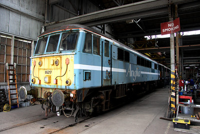 3 April. Looking worse for wear but also to a new future in Hungary, 86217 stands inside shed 20 at Long Marston. 86217 will be transformed into FLOYD 6.