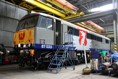 3 April. Europhoenix liveried 87023 Velocity, the former Highland Chieftain stands in shed 20 at Long Marston.