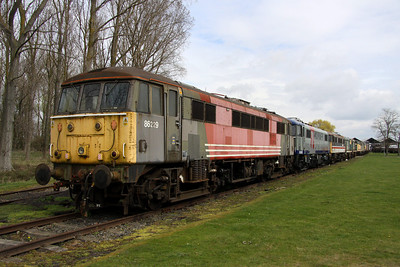 3 April. Former West coast regular 86229 heads a line up comprising 86247 + 86228 + 20016 + 20057 at Long Marston.