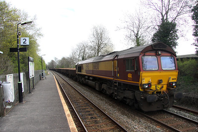 6 April. Waiting for the road, 66130 stands on ballast at Bow Brickhill with the 6R03 Toton - Bedford St. Johns.
