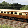 3 August. Recently repainted from InterCity colours to Pullman umber and cream, Mark 2F Buffet First vehicle 1211 CAR No 1211 is seen in the consist of 5Z39 at Castlethorpe.