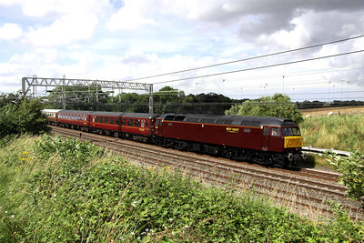 3 August. With a freshly applied coat of WCRC maroon, 47826 heads south along the WCML at Castlethorpe with the 5Z39 0940 Carnforth - Acton Lane ECS for the following days 'Lakeland Statesman' charter from Milton Keynes.