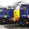 18 August. Dellner couplers up and down as 57304 Pride of Cheshire stands with 57302 at Gresty Bridge open day.