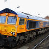 21 December. To bolster GBRf's increasingly stretched 66 fleet, three ex Dutch Euro spec locos which were surplus have made their way to these shores. 66735 leads newly acquired sisters 66747 + 66748 + 66749 at Kettering working as the 0L66 0930 Dollands Moor - Butterley MRC.