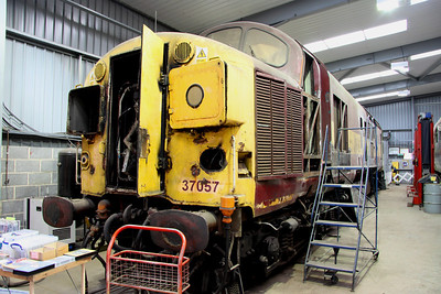 8 December. Split box 37057, the former Viking stands under cover in the DPS shed at Barrow Hill.