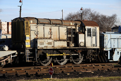 8 December. Departmental liveried 08786 stands at Barrow Hill.