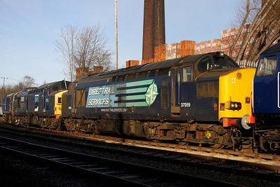 8 December. Three for store as XHSS examples 37059 + 37087 + 20306 all stand silent at Barrow Hill. Note 37087 still retains her Keighley & Worth Valley Railway 40th Anniversary 1968-2008 nameplates.