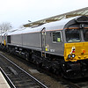 21 December Looking northwards with 0L66 held during her pathing stop 66747 trails 66749 + 66748 with 66735 leading.