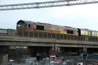 21 January. 66085 is seen crossing Bletchley Flyover heading for Fenny Stratford having traversed the flyover to Swanbourne Sidings.