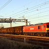 13 January. In the last rays of sun, 92009 Marco Polo runs past Stoke Hammond with the 6A42 Daventry - Wembley.