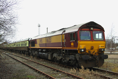 21 Janaury. 66213 trundles along the reception line into Wolverton Works on the rear of the Concrete Cow.