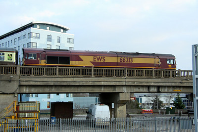 21 January. 66213 brings up the rear of the Concrete Cow on Bletchley Flyover.