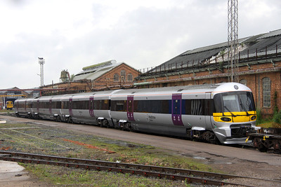 6 July. Heathrow Express unit 332011 is seen exiting the works behind 08649. Shortly later the unit was returned into the works as the loco that had come to collect it, 66138, returned to Wembley without it !! reason unknown. She was eventually collected by 67024 on 9 July.