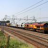 26 July. Foursight as 66030 leads 67026 Diamond Jubilee + 67029 Royal Diamond + 66148 on the 4O57 Bescot - Daventry intermodal. The 67's were being conveyed to Wembley for possible use on Olympic specials.