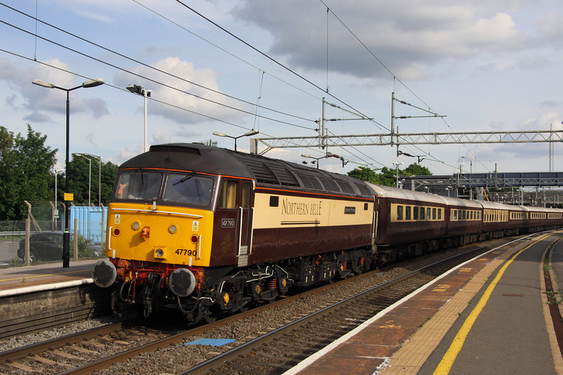 21 July. Running just over 30 late, 47790 Galloway Princess brings up the rear of the return from Chester, the 1Z61 1514 Chester - Birmingham International via Milton Keynes. The delay was due to cows on the line between Chester and Crewe.