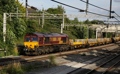 21 July. With 66122 out of sight leading, sister loco 66126 tails the 6H90 1503 Crewe Basford Hall - Camden Junction through Castlethorpe.