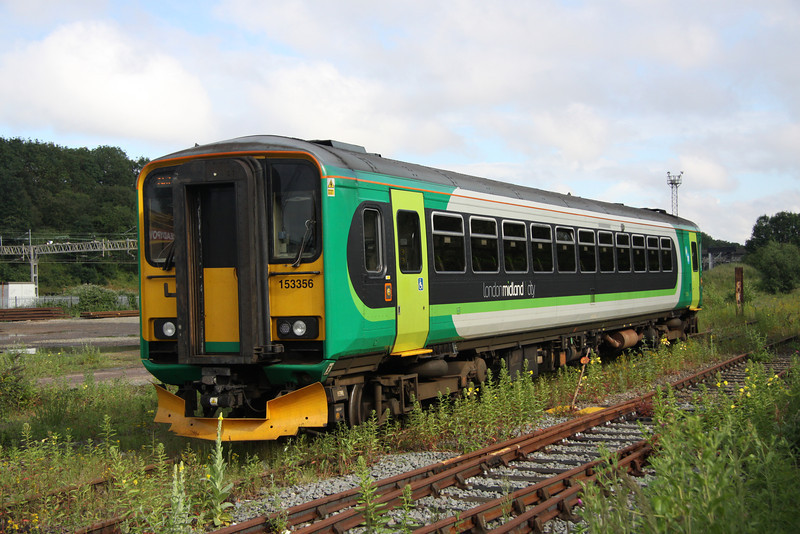 6 July. Tin rocket 153356 is seen arriving onto Wolverton Works having arrived as the 5Z53 from Tyseley.