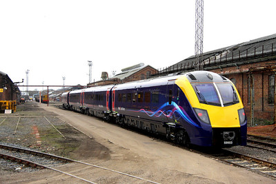 16 March. Former Northern Rail operated Adelante 180103 has recently been outshopped from Wabtec, Kilmarnock in full FGW dynamic lines livery. 180103 is seen here entering Wolverton Works having arrived in as the 5Z81 1332 Old Oak Common - Woverton Works. She arrived on the works an hour late due to a late departure from Old Oak and a fatality at Hemel Hempstead. Note 08649 Wolverton behind her and further back sister unit 180106.