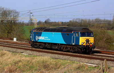 11 March. Unfortunately not dragging a Pendolino but never the less Arriva liveried 57314 adds a splash of colour as she passes Chelmscote working as 0A16 Oxley - Euston.