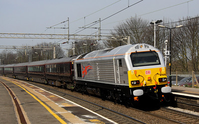 23 March. Having been named earlier in the day at Manchester Victoria by HM The Queen, 67026 Diamond Jubilee pulls into Wolverton returning ECS on the Royal Train.