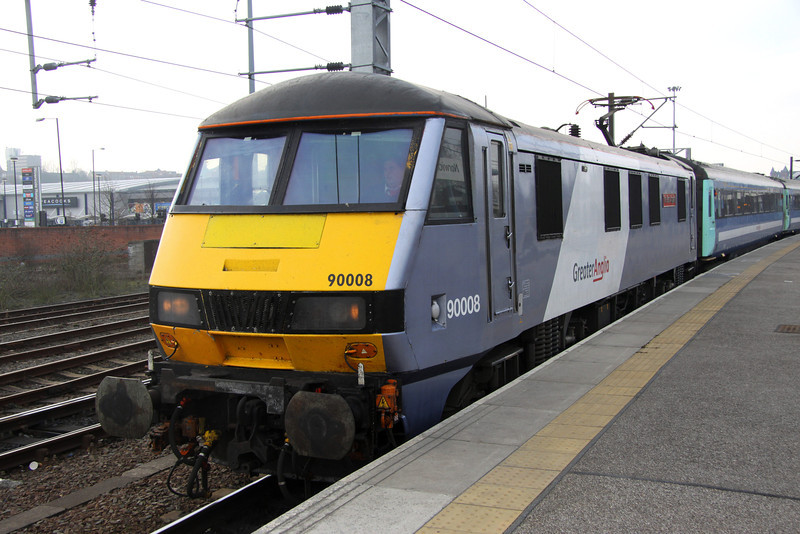 2 March. With Greater Anglia branding on the old National Express livery, 90008 The East Anglian prepares to work the 1530 Norwich - Liverpool Street.