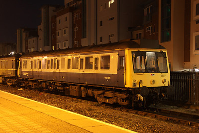 7 March. Former class 121 vehicle 55022 and now used as a route learning vehicle, 960014 (W977873) stands alongside Aylesbury station. This vintage 1960 built bubble is used by Chiltern Railways.