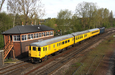 5 May. DBSO 9714 tails the 3Q06 past Banbury North Signalbox with 31106 leading.