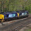5 May. Making a hell of a noise, DRS pair 37604 + 37259 head north at Banbury working the 0Z38 from Didcot - Crewe Gresty Bridge.