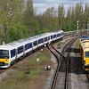 5 May. Chiltern duo 165034 + 165001 approach Banbury ECS from the sidings to form a service to Marylebone.