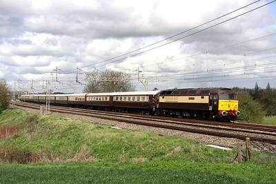 5 May. Northern Belle uniformity as 47832 Solway Princess with 47790 Galloway Princess on the rear pass Chelmscote working the 1Z64 0701 Manchester Victoria - Kensington Olympia.