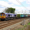 11 May. Named after the former director of the NRM York, 66727 Andrew Scott CBE heads the 4M23 1045 Felixstowe - Hams Hall past Chelmscote.