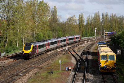 5 May. Cross Country 221127 leaves Banbury with the 0637 Bournemouth - Manchester Piccadilly.