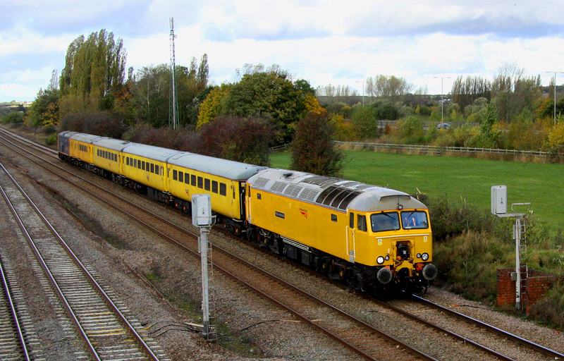 2 November. Recently named 57312 Peter Henderson leads the 1Z13 1110 Derby RTC - Eastleigh Yard past a dull Bromham on the slow. 57312 was the former 47330 before conversion.
