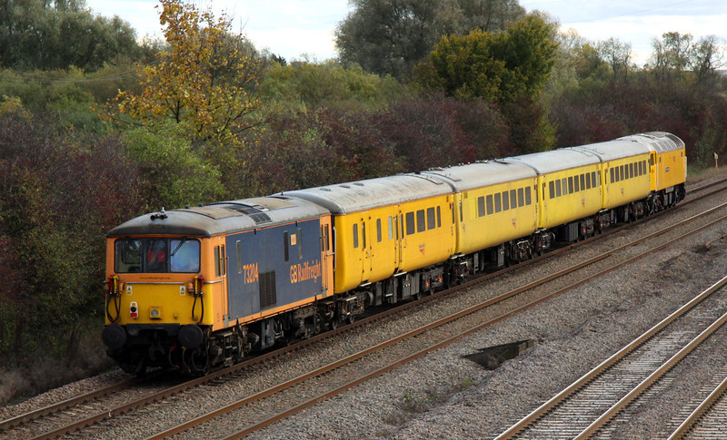 2 November. GBRf ED 73204 Janice tails the 1Z13 away from Bromham. The ex Gatwick Express loco was formerly numbered 73125.