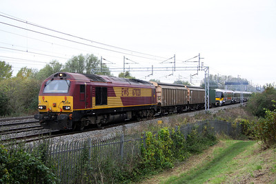 19 October. Gloomy October as 67028 leads 332013 past Bradwell working as the Wolverton Works - Old Oak Common HeX